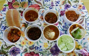 6 chili samples plus roll, coleslaw, beverage and dessert